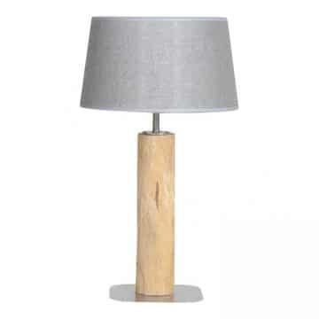 Tafellamp Brocante Stam met Jute Zilveren Kap