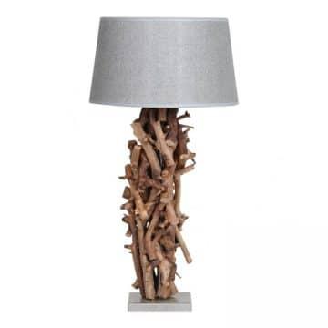 Tafellamp Brocante Perentakken met Jute Zilveren Kap