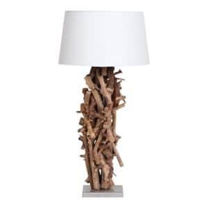 Tafellamp Brocante Perentakken met Witte Kap