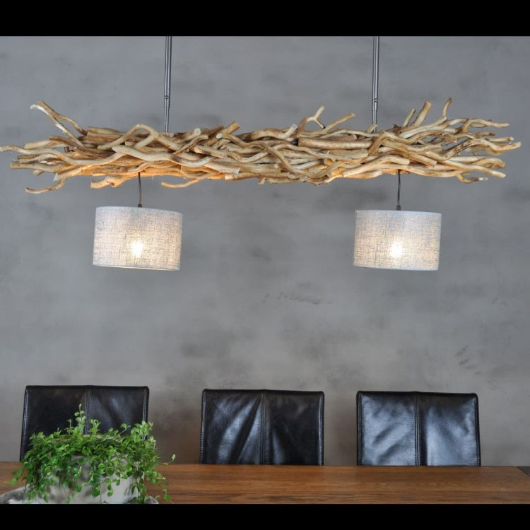 Hanglamp Brocante Kronkeltakken met Jute Zilveren Lampenkapjes (135 cm)