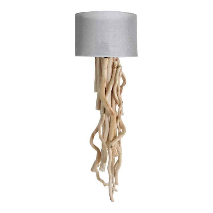 Wandlamp Brocante Takken met Jute Zilveren Kap