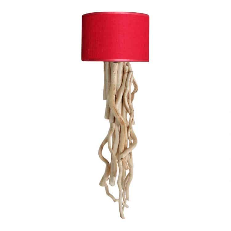 Wandlamp Brocante Takken met Rode Kap