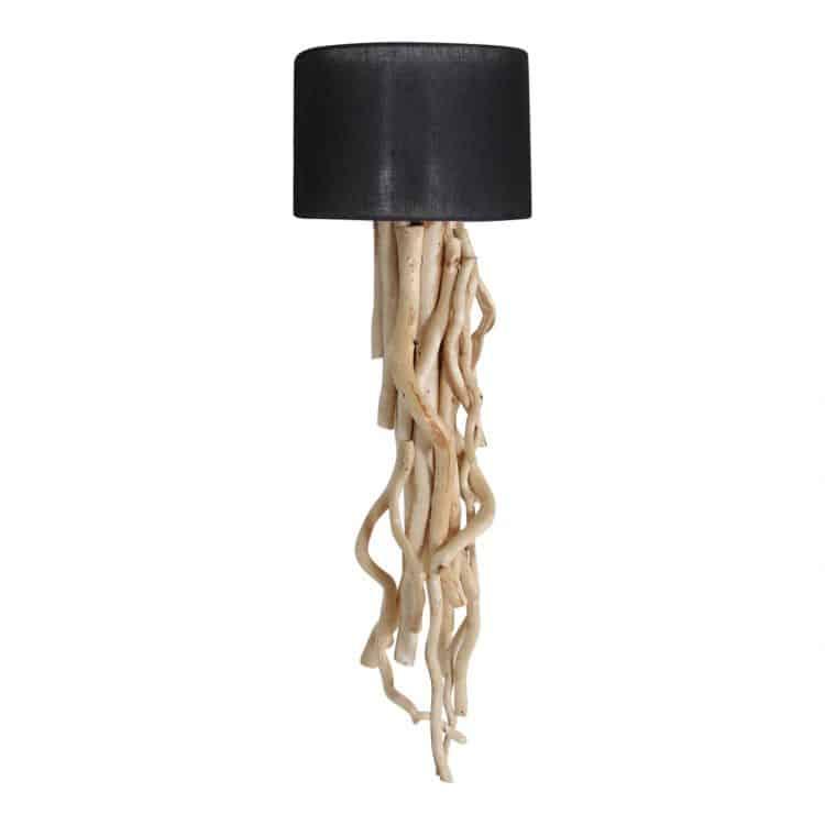 Wandlamp Brocante Takken met Zwarte Kap